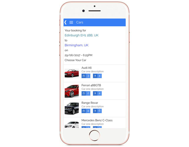 Taxi and chauffeur service Iphone App