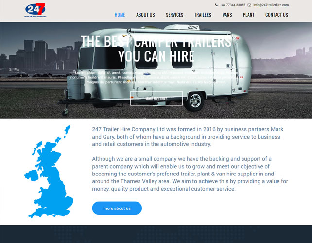 Trailer Hire Website Design