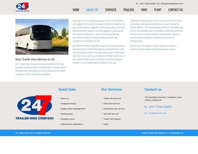 Trailer Hire Website Design