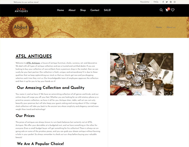 Antiques Product Based Website