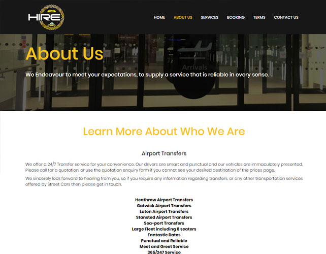 Airport Transfers Website