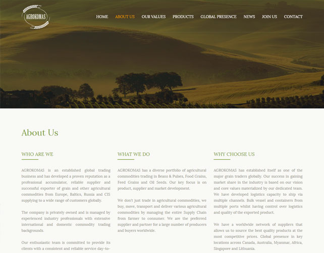 Website for Agro Business