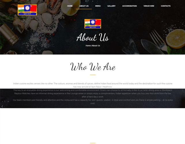 Indian Restaurant Website Design