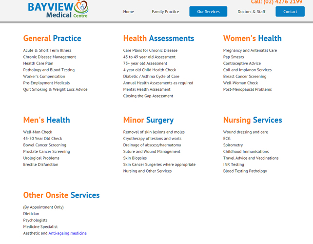Website for Medical Centre