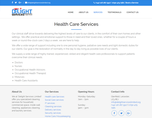 Health and social care Website