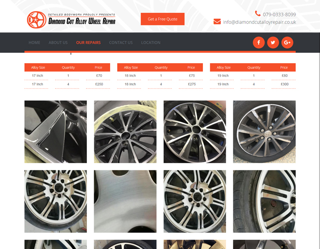 Alloy Wheel Repair Website Design