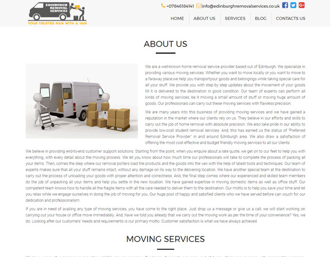 Removal service provider Website