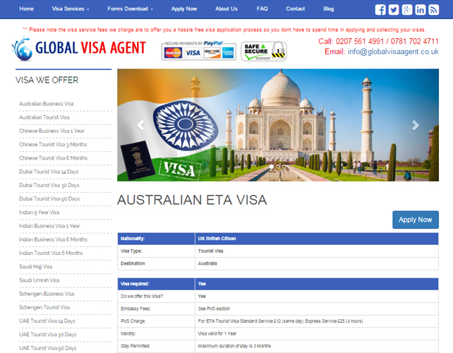 Web Design for Visa Agent