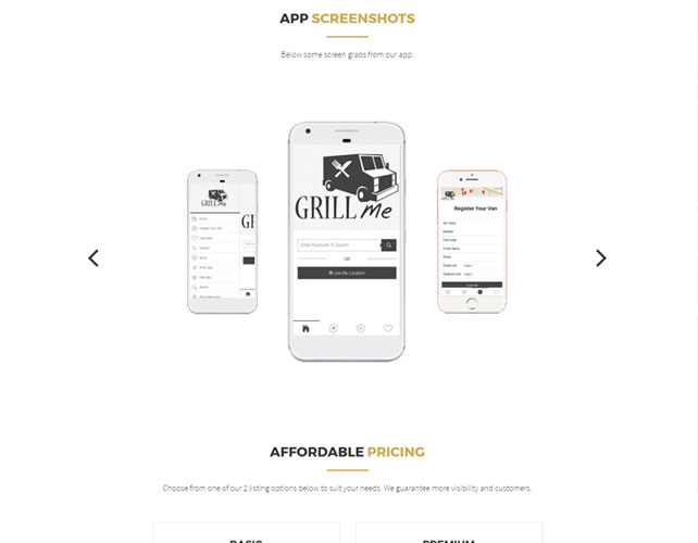 Website to search Food Vans