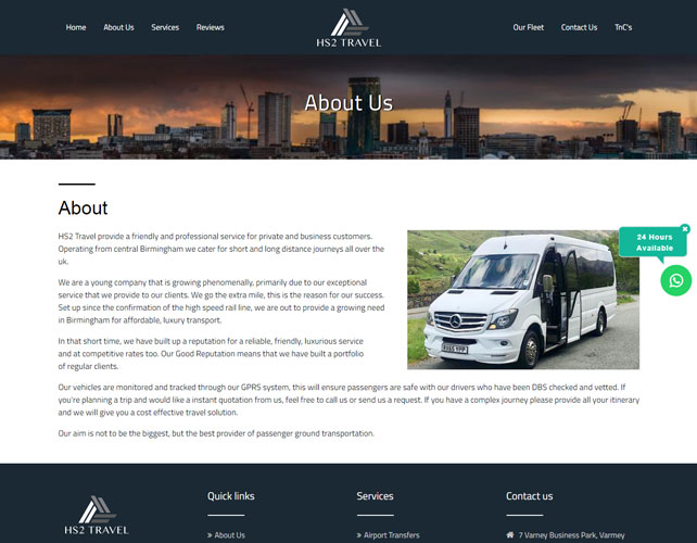Travel service provider Website