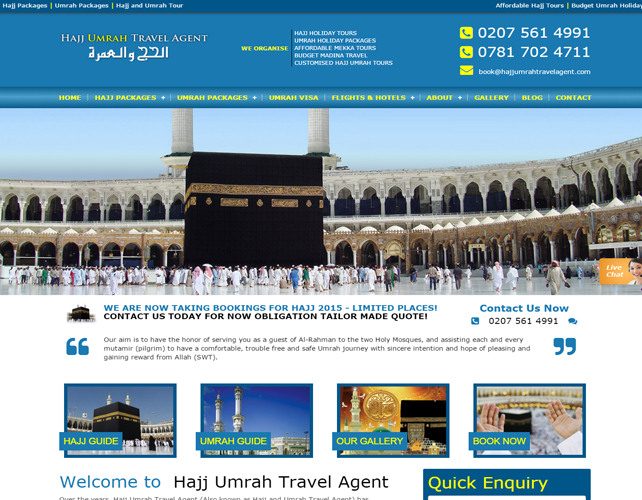 Hajj Umrah Travel Agent Website