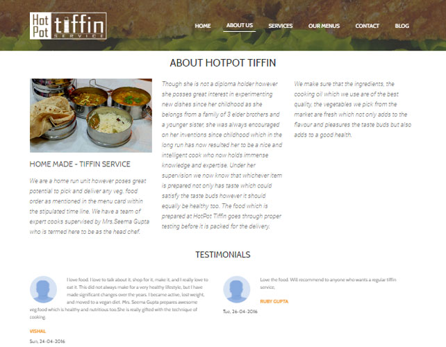 Tiffin Service Website