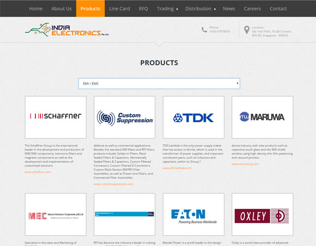 Electrical Parts Web Design