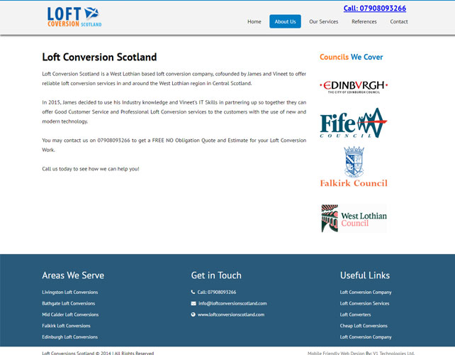 Loft conversion services Website Design
