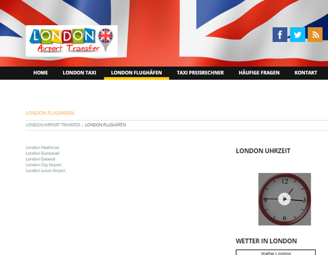 London Taxi Business Website