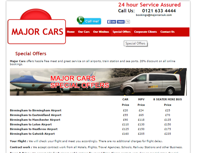 Cab and Taxi Hire Website