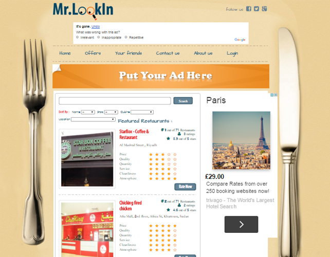 Sudan Restaurant Comparison and Reviews Website