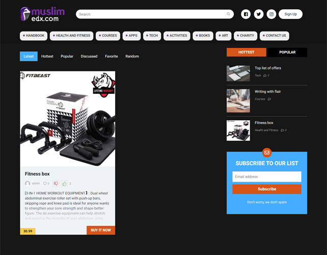 Workout Equipment Selling Website Design