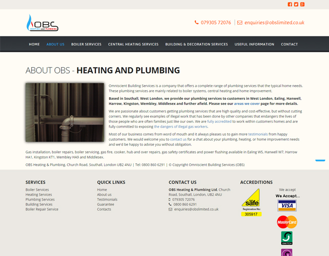 HEATING AND PLUMBING WEBSITE