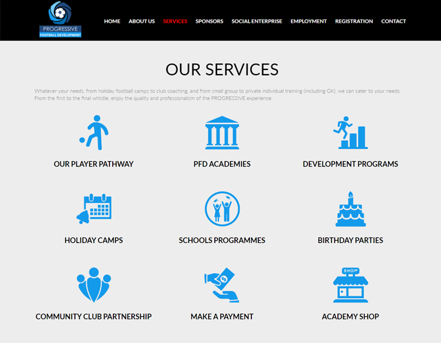 Football Academy Website Design