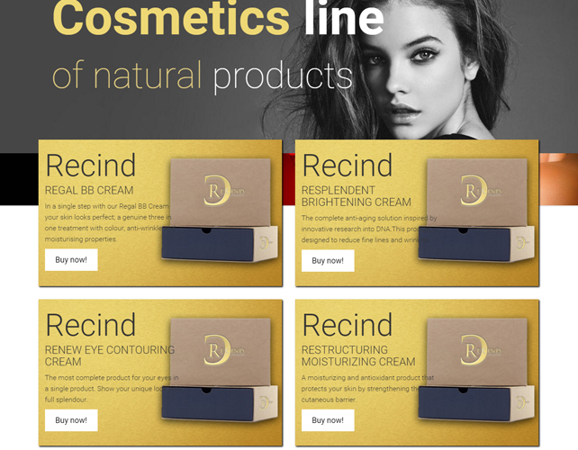 Website to sell Beauty Products