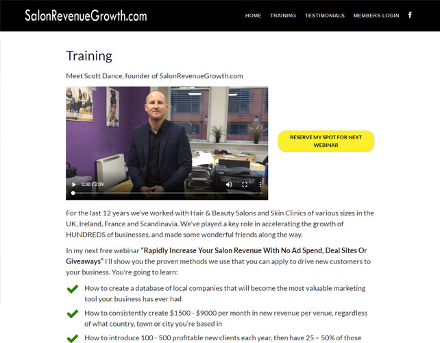 Salon Training Website