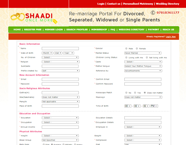 Remarriage Matrimony Portal
