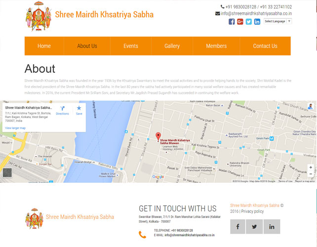 Indian Charitable Organisation Website