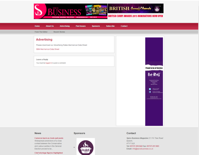 Spice business Website Desing