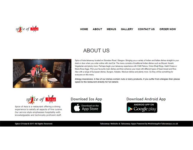 Restaurants and Takeaways Business Website