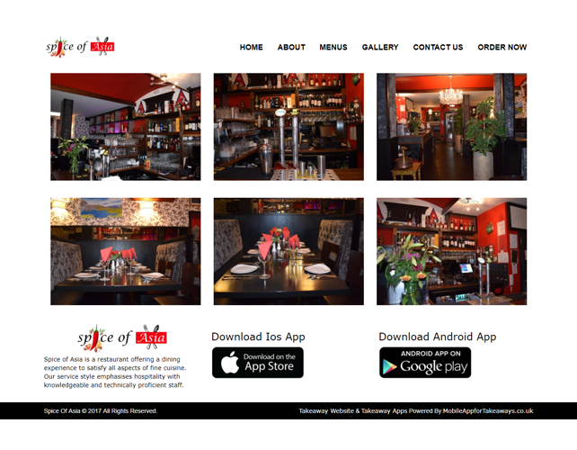 Restaurants and Takeaways Business Website