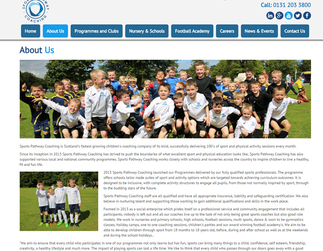 Web Design for a Sports Academy