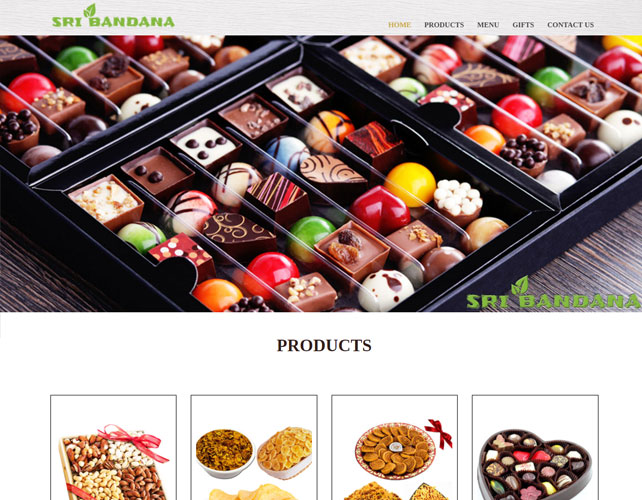 Dry fruits and chocolate gift shop website design