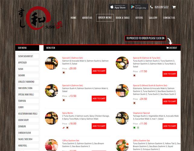 DELICIOUS SUSHI FOOD WEBSITE DESIGN