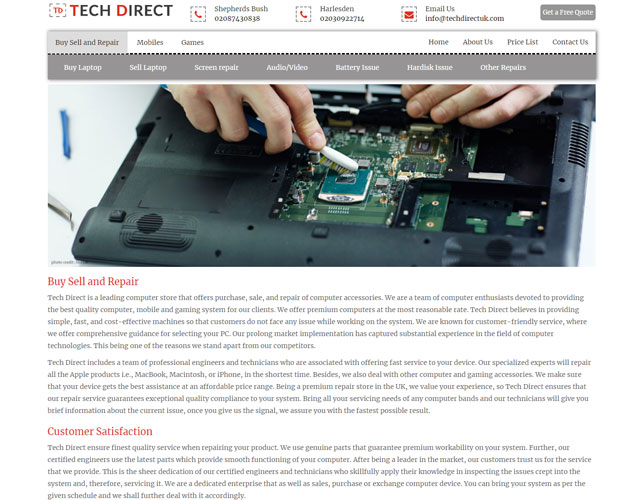 Electronic Gadget Servicing Website