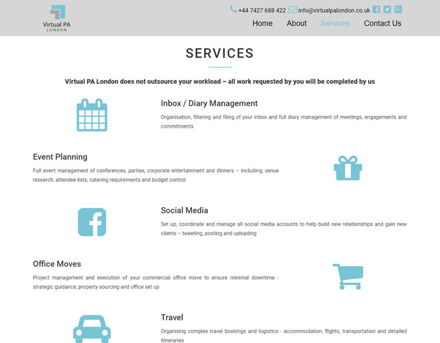 Personal Assistant Business Website