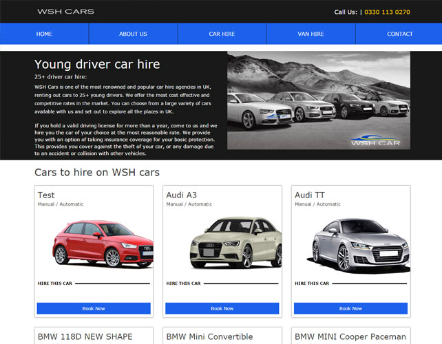 Vehicle Rentals Business Website