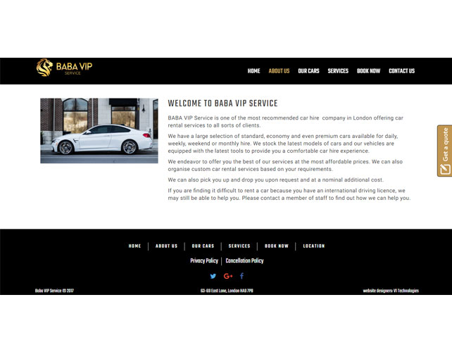 Car hire company Website