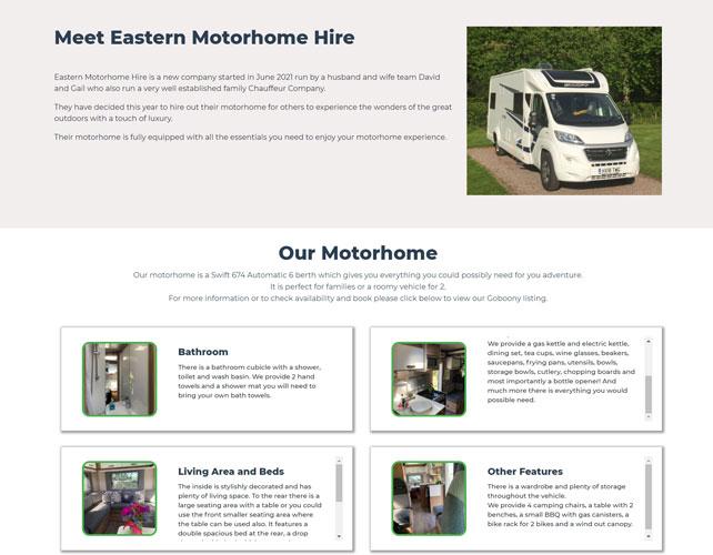 Eastern Motorhome Hire Website Design