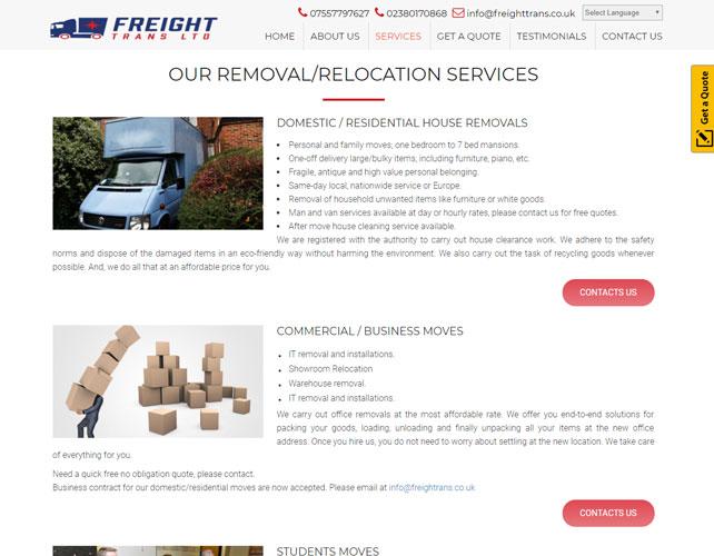 Removals logistics services Website
