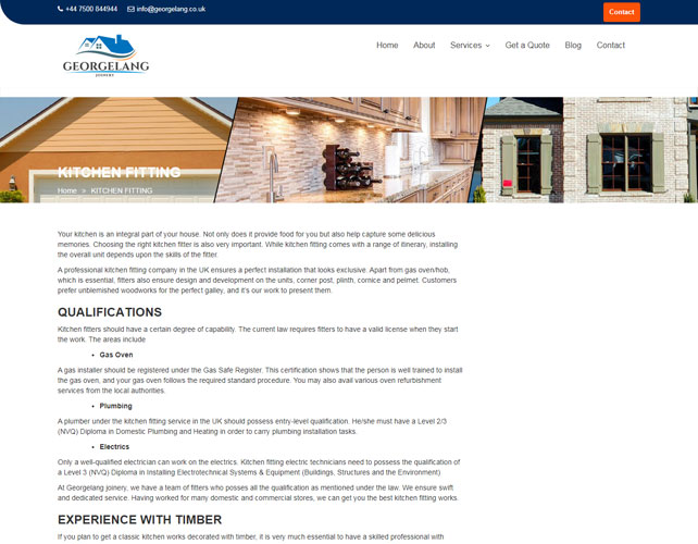Joinery services Website