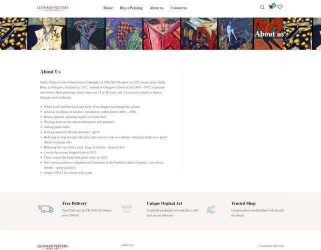 Leonard Peeters Fine Art Website Design
