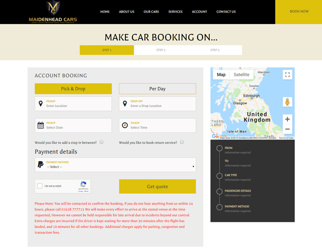 Private Hire Taxi Website