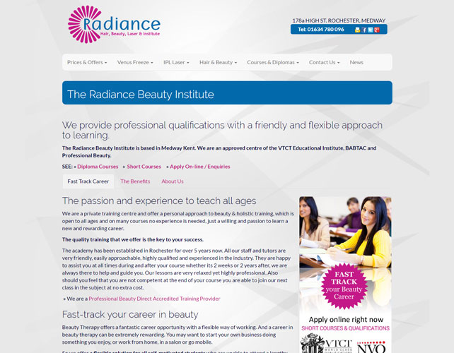 Hair and Beauty Courses Website Design