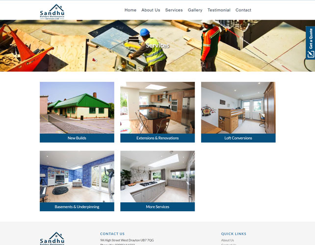 Sandhu Builders Website Design