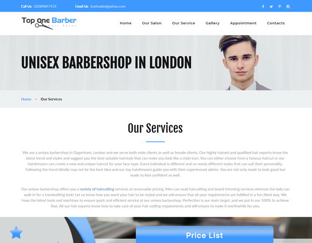 Barber Website Design