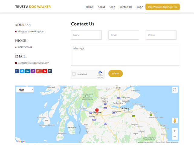 Dog Walker Website Design