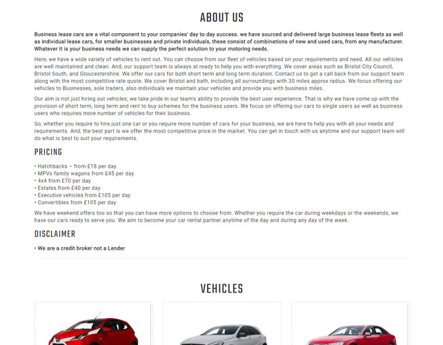 Car Hire Business Website