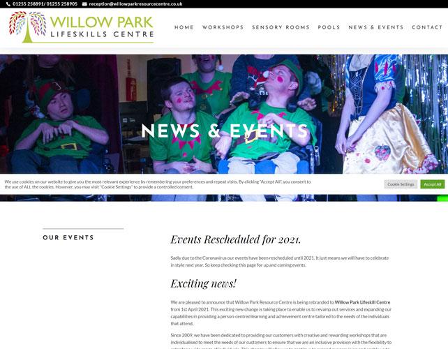 Willow Park Lifeskills Centre Website Design